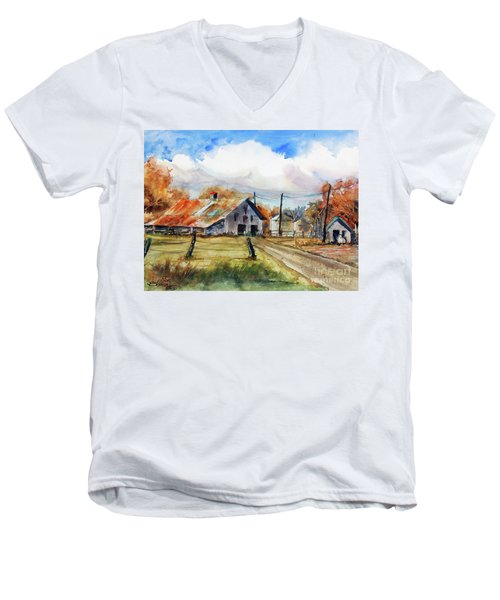 Autumn At The Farm Men's V-Neck T-Shirt by Ron Stephens