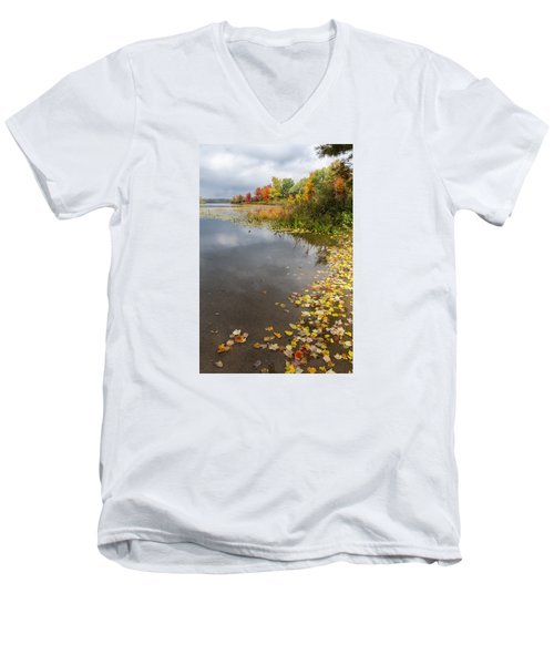 Autumn At The Lake In Nh Men's V-Neck T-Shirt