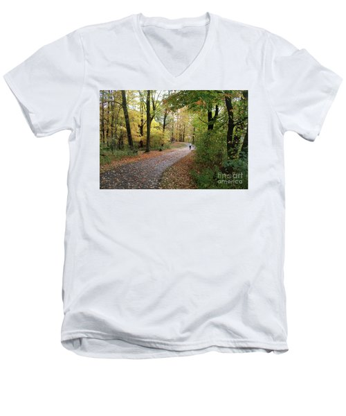 Autumn Bicycling Men's V-Neck T-Shirt by Felipe Adan Lerma