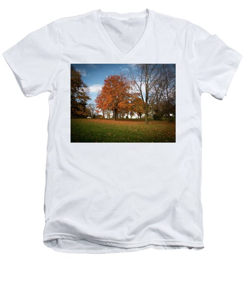 Men's V-Neck T-Shirt featuring the photograph Autumn Bliss by Kimberly Mackowski