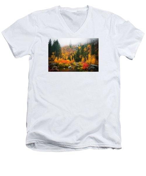 Men's V-Neck T-Shirt featuring the photograph Autumn Colors Symphony by Dan Mihai