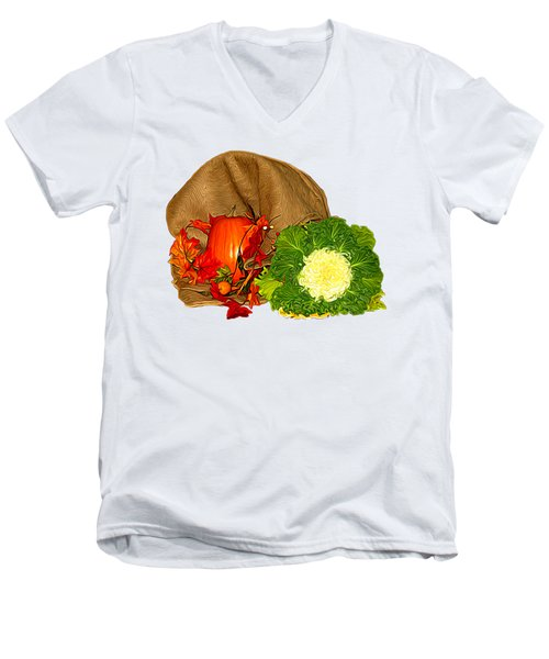 Autumn Display Expressionist Effect Men's V-Neck T-Shirt