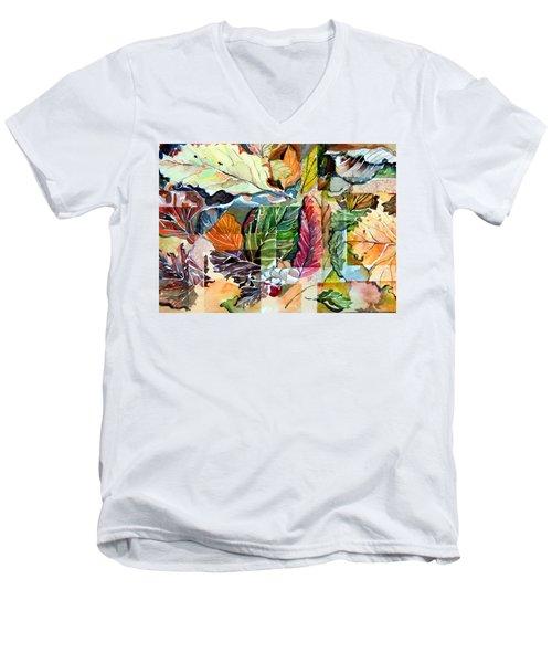 Autumn Falls Men's V-Neck T-Shirt by Mindy Newman