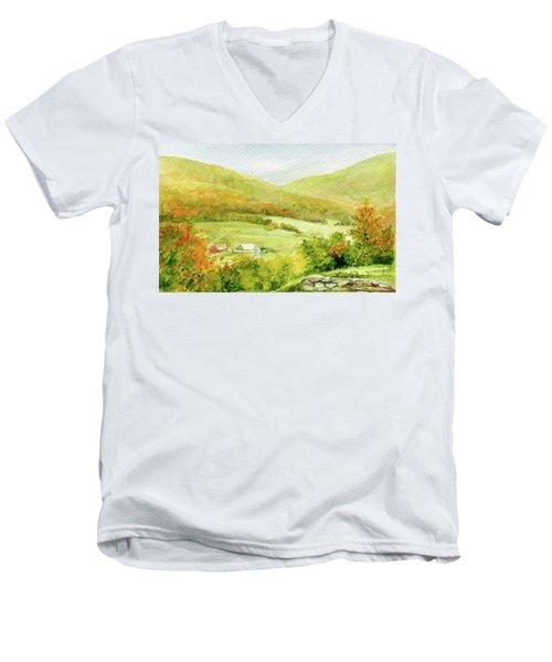 Autumn Farm In Vermont Men's V-Neck T-Shirt