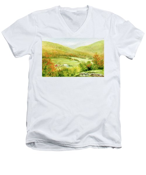 Autumn Farm In Vermont Men's V-Neck T-Shirt