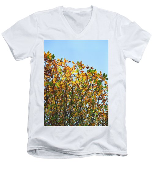 Men's V-Neck T-Shirt featuring the photograph Autumn Flames - Original by Rebecca Harman