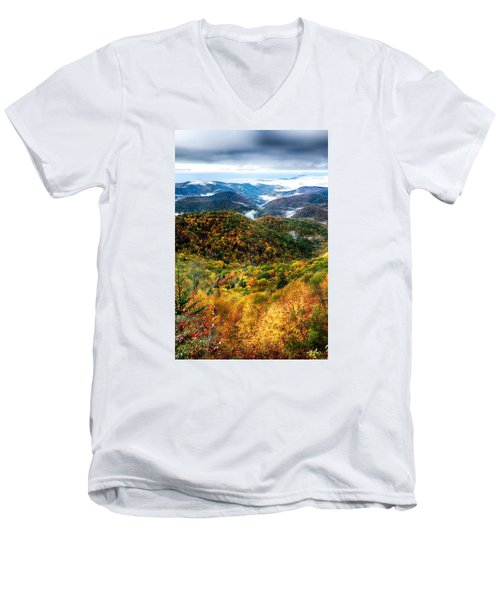 Autumn Foliage On Blue Ridge Parkway Near Maggie Valley North Ca Men's V-Neck T-Shirt