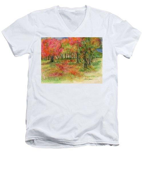 Autumn Forest Watercolor Illustration Men's V-Neck T-Shirt