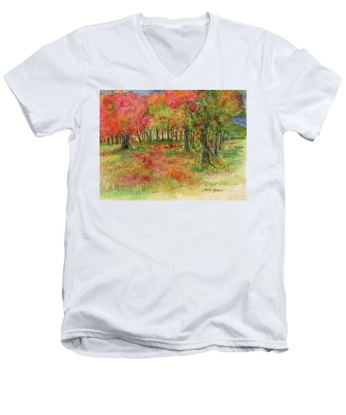 Autumn Forest Watercolor Illustration Men's V-Neck T-Shirt