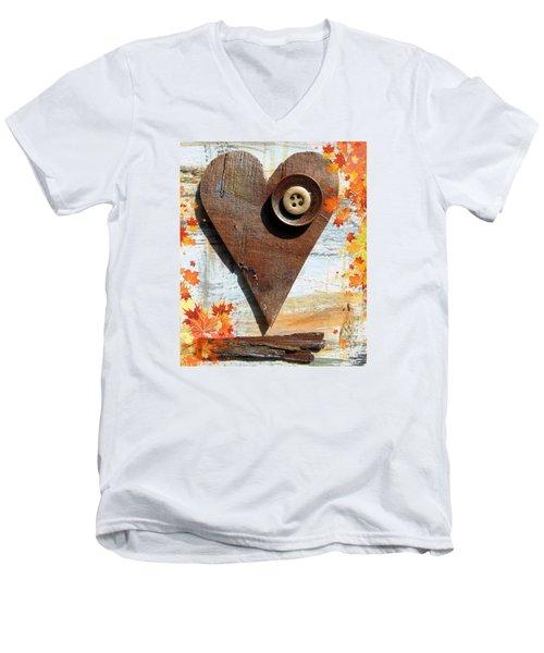 Autumn Heart Men's V-Neck T-Shirt by France Laliberte