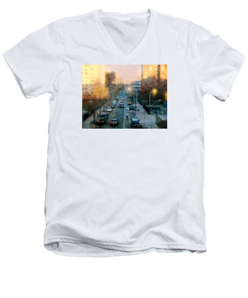 Autumn In Harlem Men's V-Neck T-Shirt by Diana Angstadt