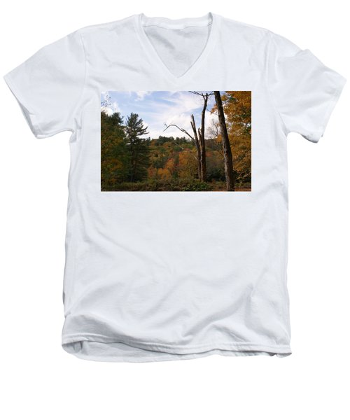 Autumn In The Hills Men's V-Neck T-Shirt by Lois Lepisto