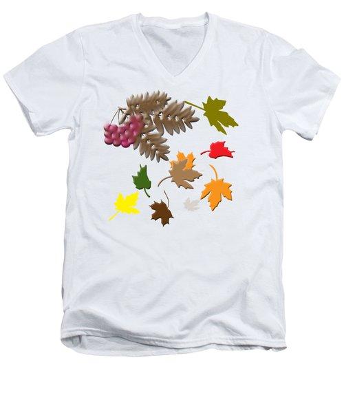 Autumn Men's V-Neck T-Shirt by Judy Hall-Folde