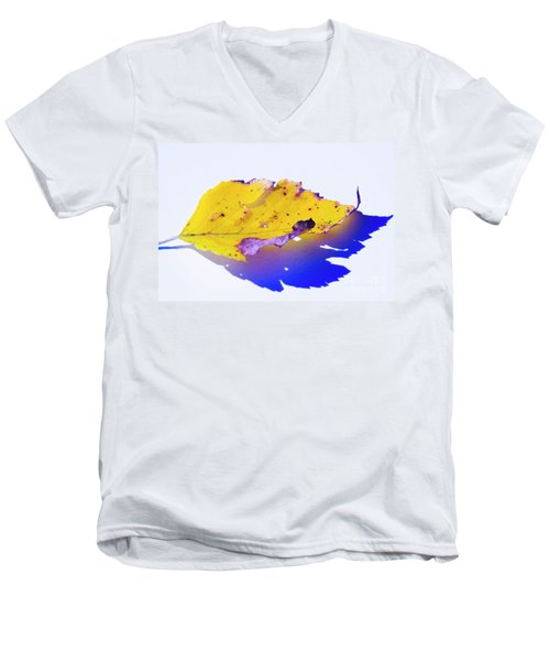 Men's V-Neck T-Shirt featuring the photograph Autumn Leaf Abstract by Yulia Kazansky
