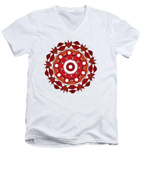 Autumn Leaves Mandala By Kaye Menner Men's V-Neck T-Shirt by Kaye Menner