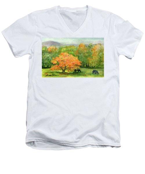 Autumn Maple With Horses Grazing Men's V-Neck T-Shirt