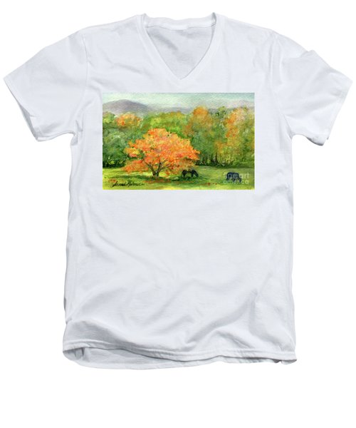 Autumn Maple With Horses Grazing Men's V-Neck T-Shirt