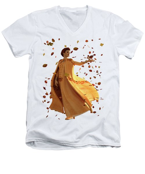 Men's V-Neck T-Shirt featuring the digital art Autumn by Methune Hively