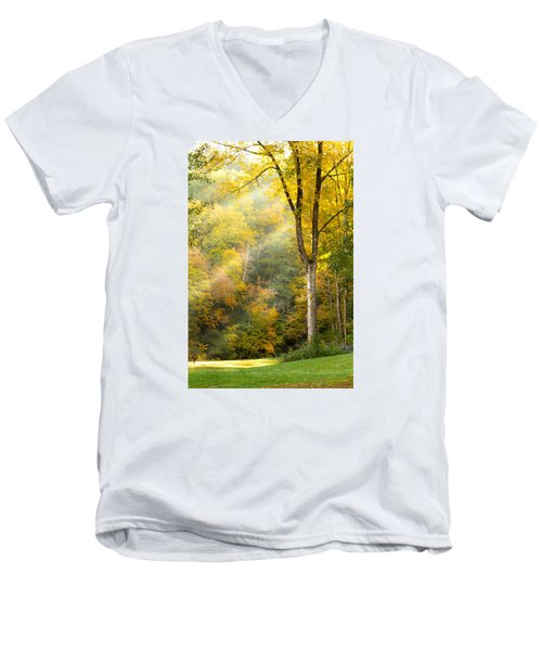 Autumn Morning Rays Men's V-Neck T-Shirt by Brian Caldwell