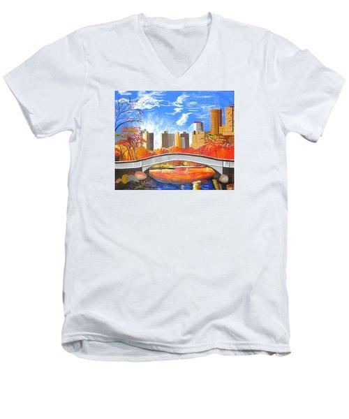 Autumn Oasis Men's V-Neck T-Shirt by Donna Blossom
