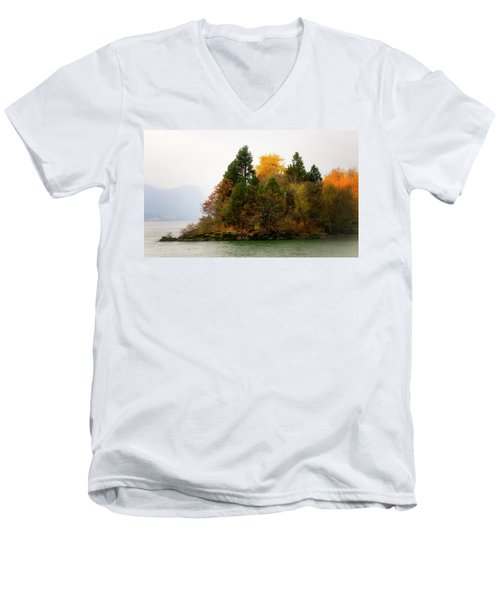 Men's V-Neck T-Shirt featuring the photograph Autumn On The Columbia by Albert Seger