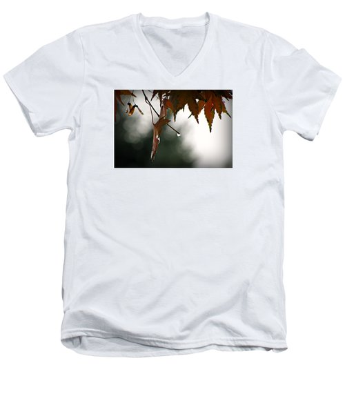 Autumn Raindrops Men's V-Neck T-Shirt by Katie Wing Vigil