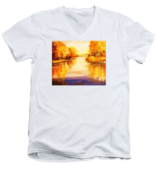 Men's V-Neck T-Shirt featuring the painting Autumn Gateway by Al Brown