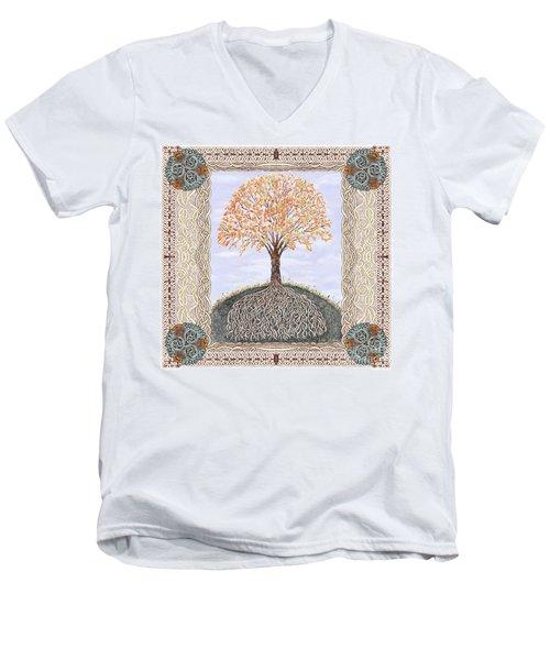 Autumn Tree Of Life Men's V-Neck T-Shirt by Lise Winne