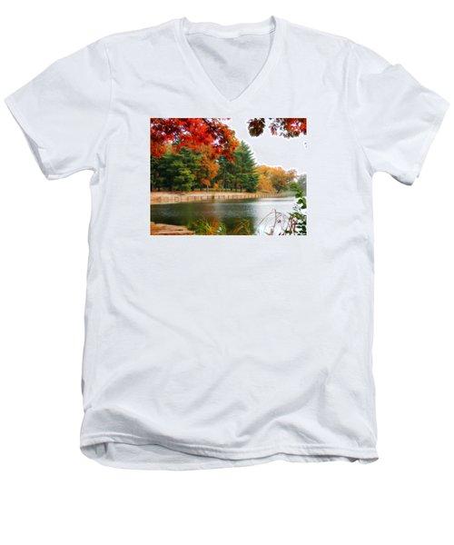 Autumn View Men's V-Neck T-Shirt by Teresa Schomig