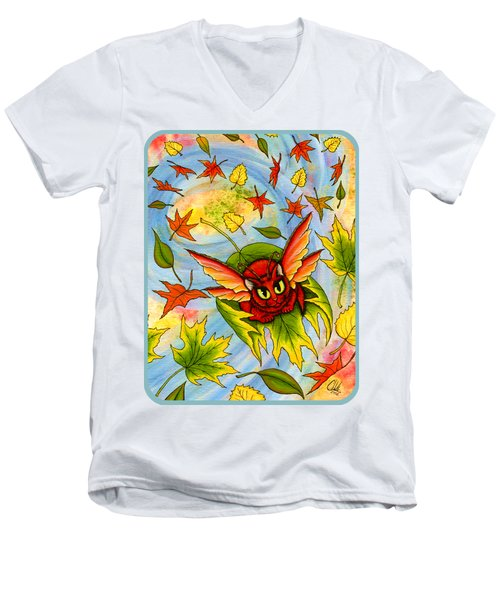 Autumn Winds Fairy Cat Men's V-Neck T-Shirt