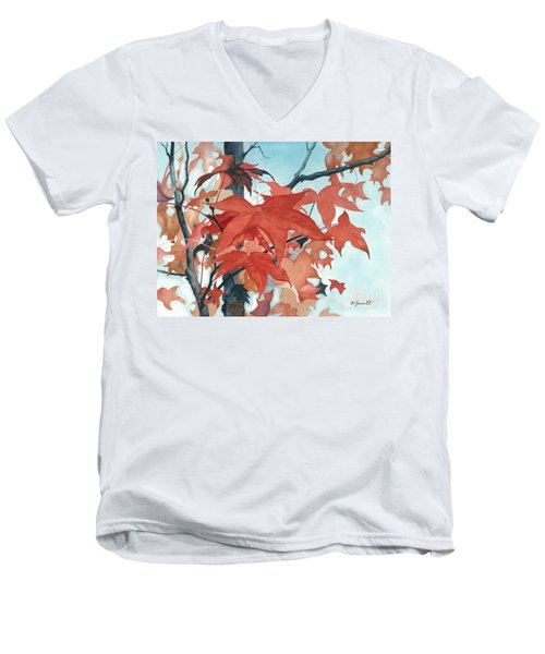 Autumn's Artistry Men's V-Neck T-Shirt by Barbara Jewell