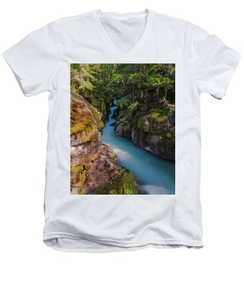 Men's V-Neck T-Shirt featuring the photograph Avalanche Gorge 5 by Gary Lengyel