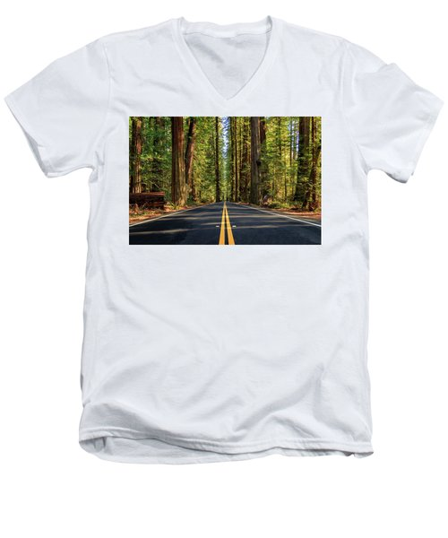 Avenue Of The Giants Men's V-Neck T-Shirt by James Eddy