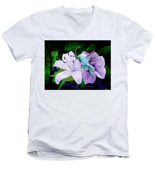 Men's V-Neck T-Shirt featuring the mixed media Aviation Hummingbird by Marvin Blaine