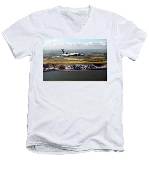 Avro Vulcan Over The White Cliffs Of Dover Men's V-Neck T-Shirt