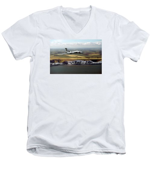 Avro Vulcan Over The White Cliffs Of Dover Men's V-Neck T-Shirt