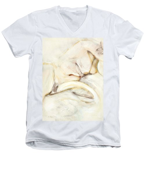 Award Winning Abstract Nude Men's V-Neck T-Shirt by Kerryn Madsen-Pietsch