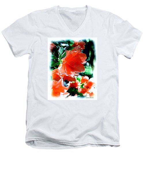 Men's V-Neck T-Shirt featuring the painting Azaleas In The Spring by Patricia Griffin Brett