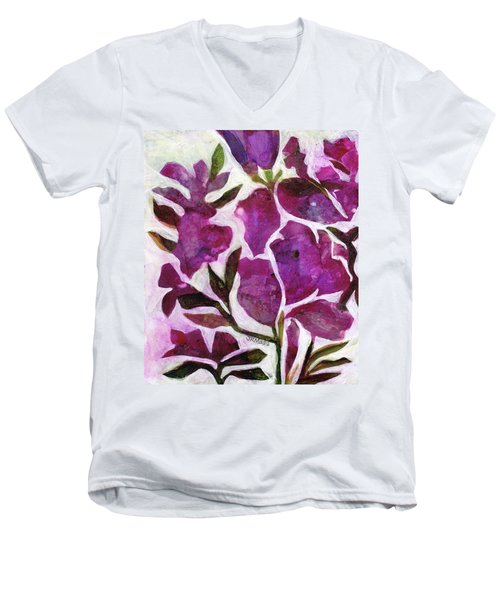 Azaleas Men's V-Neck T-Shirt by Julie Maas