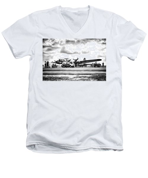 B-17 Bomber Fueling Up In Hdr Men's V-Neck T-Shirt