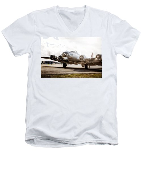 B-17 Bomber Ready For Takeoff Men's V-Neck T-Shirt