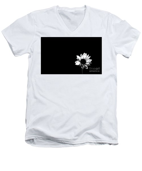 Men's V-Neck T-Shirt featuring the photograph B/w Flower  by Juls Adams
