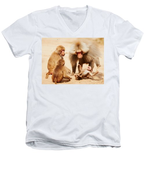 Baboon Family Having Fun In The Desert Men's V-Neck T-Shirt