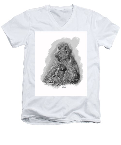 Baboon Mother And Young Men's V-Neck T-Shirt
