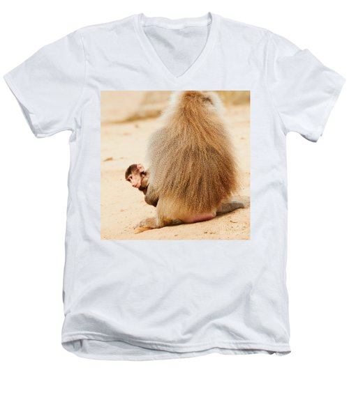 Baboon With A Baby  Men's V-Neck T-Shirt