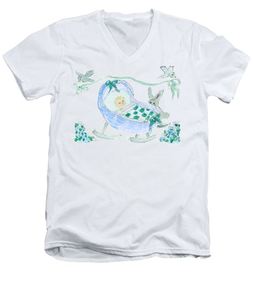 Baby Boy With Bunny And Birds Men's V-Neck T-Shirt