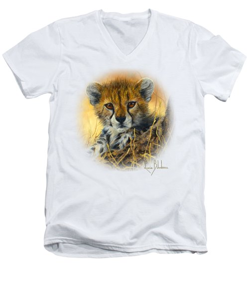 Baby Cheetah  Men's V-Neck T-Shirt by Lucie Bilodeau