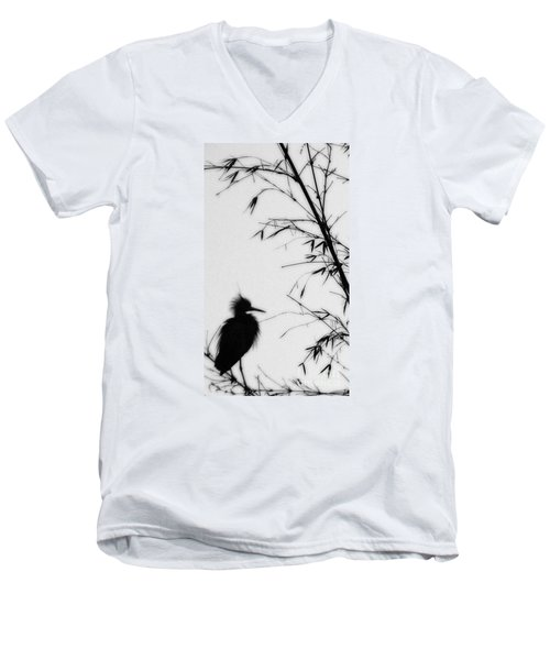 Baby Egret Waits Men's V-Neck T-Shirt