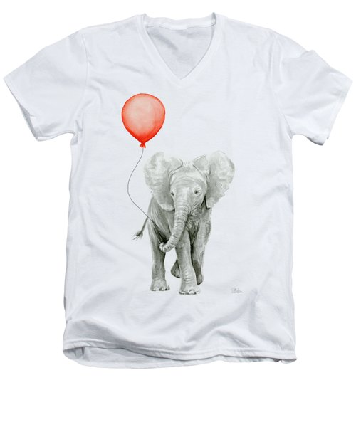 Baby Elephant Watercolor Red Balloon Men's V-Neck T-Shirt