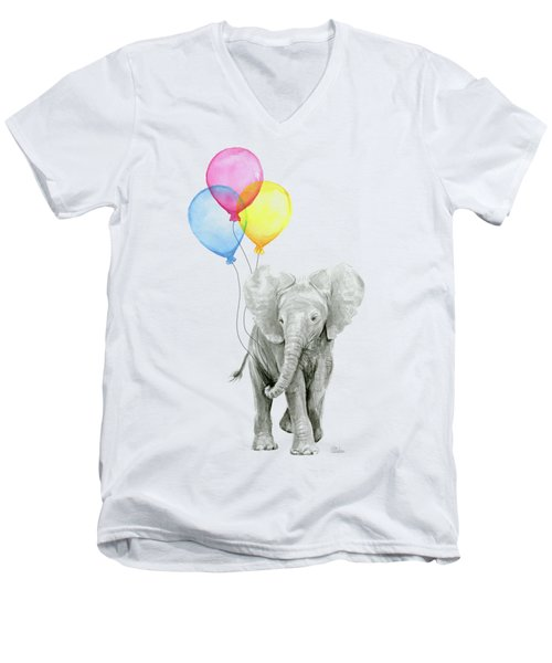 Baby Elephant With Baloons Men's V-Neck T-Shirt by Olga Shvartsur